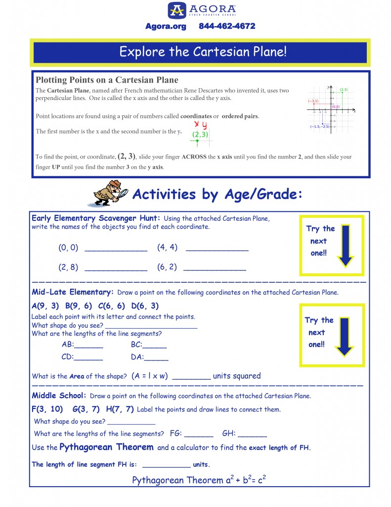 Cartesian Plane Two Pages For Lancaster Science Factory Online Worksheet 1