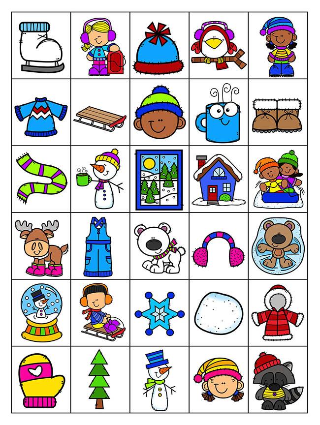 Calling Cards For Winter Bingo
